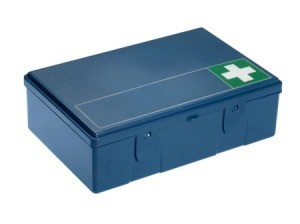 Blue first aid kit.