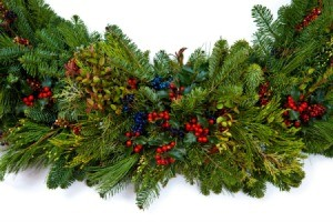Christmas garland made of pine boughs.