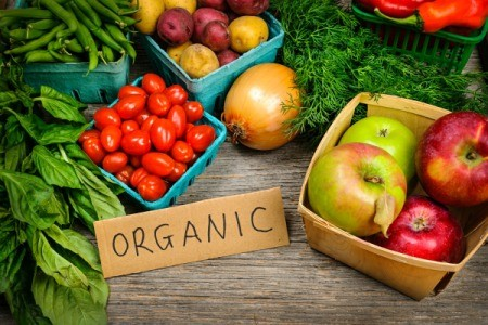 Photo of organic vegetables from a farmers market.