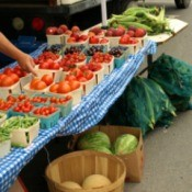 Selling vegetables at a farmers market.