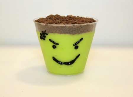 Frankenstein pudding cup