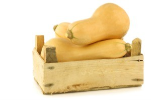 Butternut Squash in wooden box.