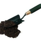 Hand shovel and soil.