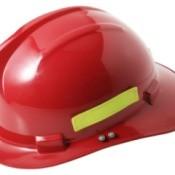 Red toy firefighter helmet.