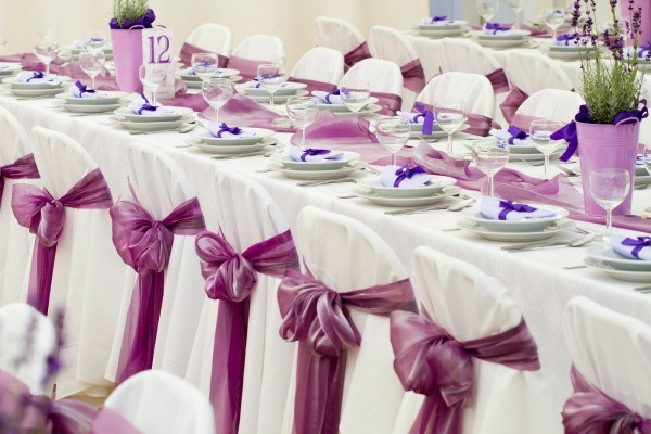 Wedding theme ideas thriftyfun photo of a wedding reception decorated in purple junglespirit Choice Image