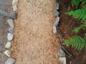 A pathway covered in sawdust.
