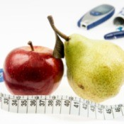 Fruit and diabetic testing supplies.