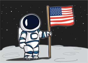 Drawing of an astronaut on the moon holding a flag.