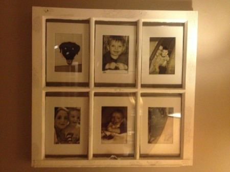 Old Window Panes as Frames - photos of grandchildren