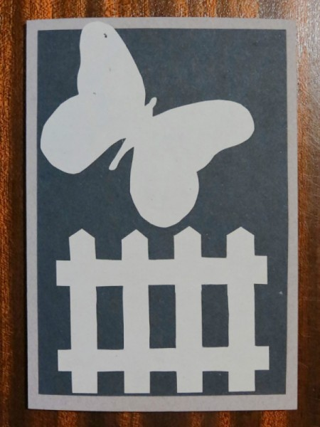 Card with the unadorned butterfly and fence in place.