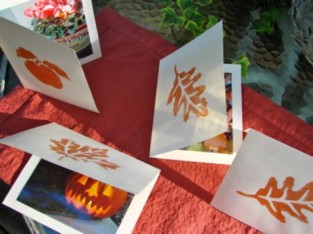 Leaf stamped greeting cards.