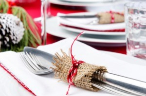 Place setting for holiday party.