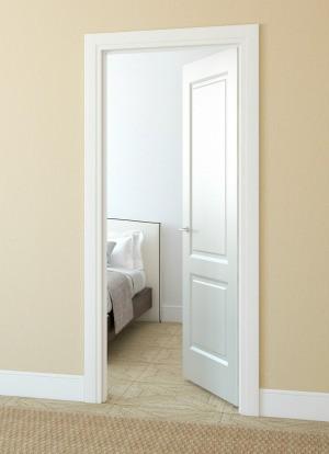 A door opening inward.