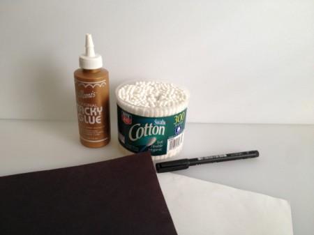 supplies for q-tip skeleton craft