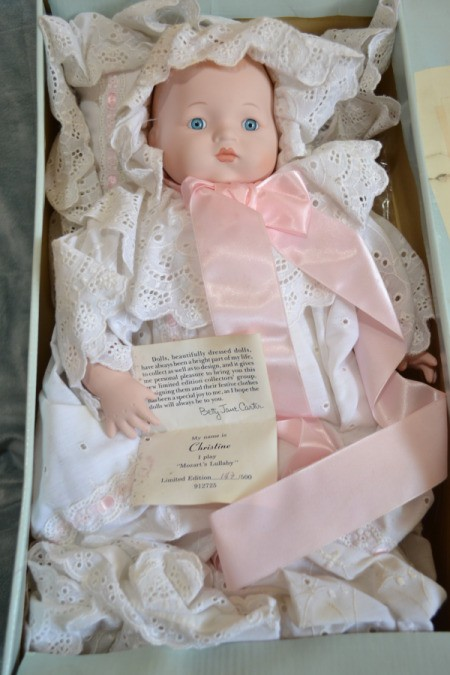 Baby doll in box.