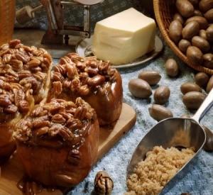 Sticky buns with nuts.
