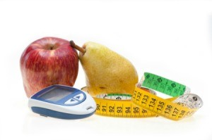 fruit and a glucometer