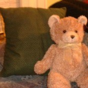 Flannel pillow with Teddy Bear