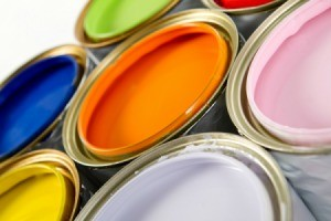 Cans of different colored paint.