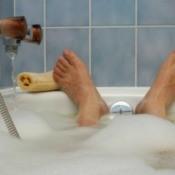 Taking a hot bath.