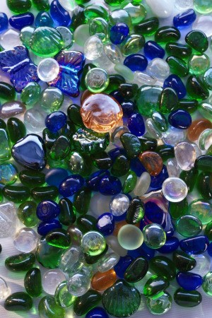 Glass gems of various colors.