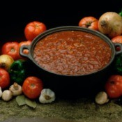 A large pot of chili, ready for canning.