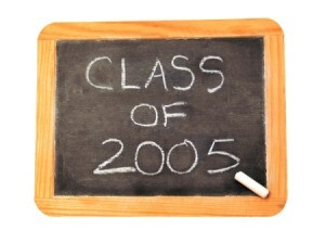Class of 2005 written on a small chalk board.