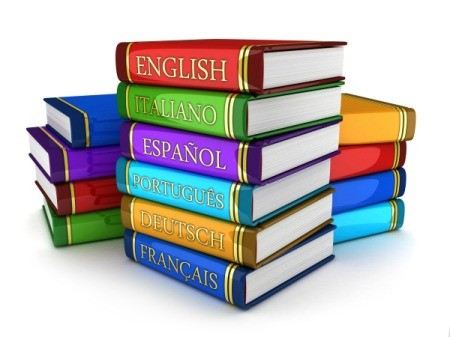 A stack of foreign language books.