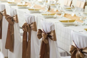 Brown bows on the backs of wedding chairs.