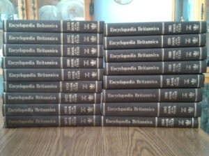 Stack of Encyclopedia Britannica Books of the Year.
