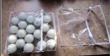 Ornaments in plastic zipper bag.