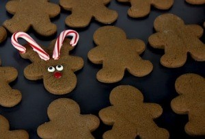 Easiest Gingerbread Man Reindeer Cookies