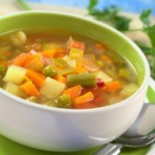 A bowl of fresh vegetable soup.