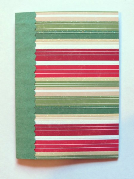 Adding green paper edge to card front.