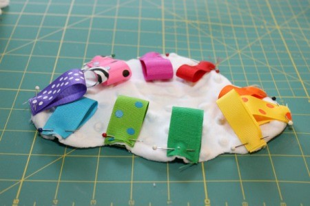 all ribbon loops pinned on