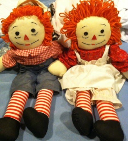 Cloth Raggedy Ann and Andy dolls.
