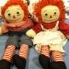 Cloth Raggedy Ann and Andy dolls.