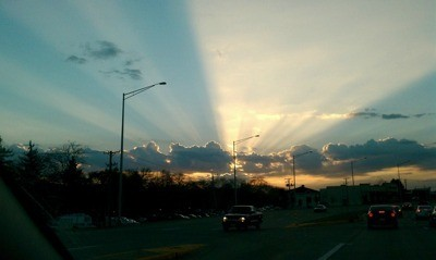 Sun rays from clouds.