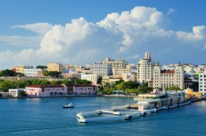 The skyline of San Juan, Puerto Rico.
