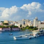 The skyline of San Juan, Puerto Rico.