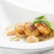 Scallop bisque with seared scallops.