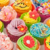 Colorful cupcakes at a cupcake themed birthday party.