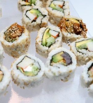 A plate of sushi at a Japanese themed birthday party.
