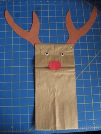 Paper Bag Reindeer Puppet