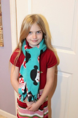 No-Sew Fleece Scarf - Finished scarf being worn.