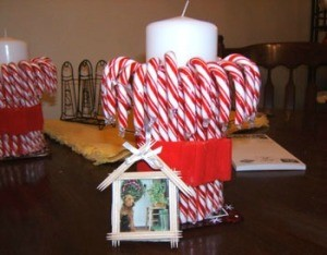 Candy canes with candle in center.
