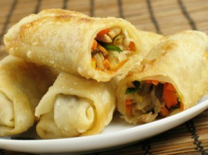 A plate of egg rolls.