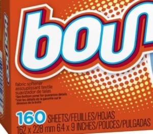 Box of Bounce dryer sheets.