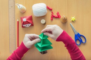 Woman Making Christmas Crafts