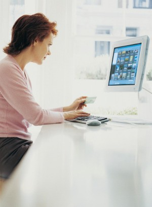 Woman looking at Her Computer Screen